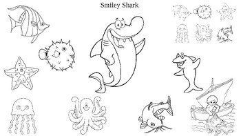 Smiley Shark Book by Ruth Galloway Sequencing Coloring