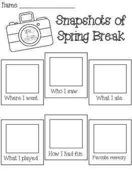 Snapshots of Spring Break Writing Activity by Aimee