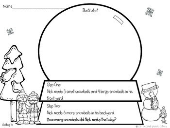 Snow Globe Two Step Math Story Problems by Second Grade
