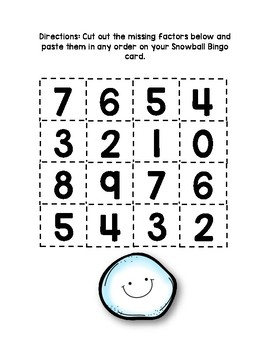 Snowball Missing Factor Bingo Game for Multiplication by