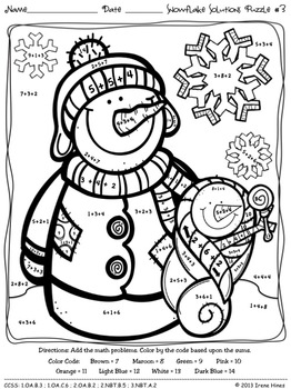 Snowflake Solutions ~ Math Winter Printables Color By The