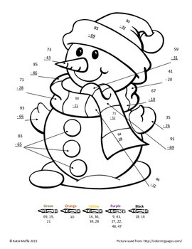 Snowman Color by Number-- Double Digit Addition and