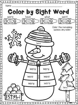 Sight Word Christmas Worksheets For Kindergarten : Color