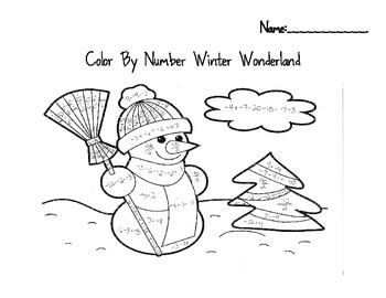 Snowman Integer Color by Number Winter Wonderland by
