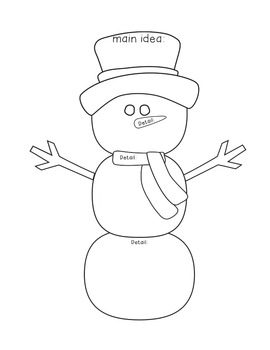Snowman Main Idea/Details Graphic Organizer by Colors of