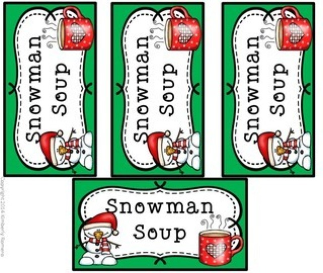 Snowman Soup Labels Christmas Gift