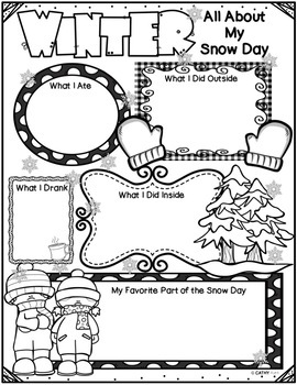 Snowstorm Writing Prompts, Craftivity, Graphic Organizers