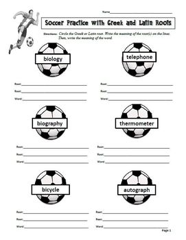 Soccer Themed Greek and Latin Roots Poster, Worksheets and