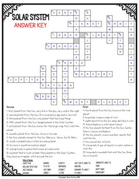 Solar System Crossword Comprehension Puzzle by Bow Tie Guy