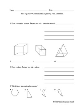 Solid Figures, Nets, and Rotational Symmetry Assessments