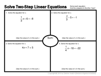 Solve Two-Step Equations Placemat Activity by Debbie's