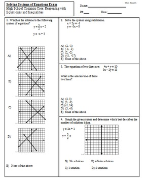 Solve Systems by Graphing, Substitution, &... by Mrs MATH
