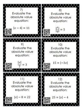 Solving 1-Step Absolute Value Equations: 24 Task Cards by