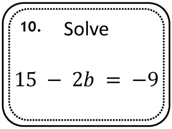 Solving 2 Step Equations Task Cards, Pre-Algebra by