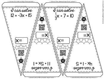 Two-step Equations Math Pennant Activity by Scaffolded