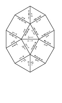 Solving Equations Tarsia Puzzle-Answer Key by Jennifer