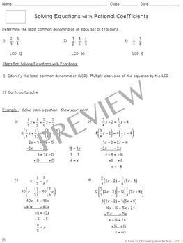 Equations with Rational Coefficients Notes and Practice