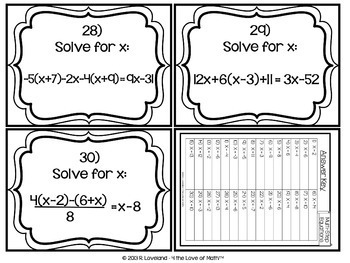 Solving Multi-Step Equations: 30 Task Cards by 4 the Love