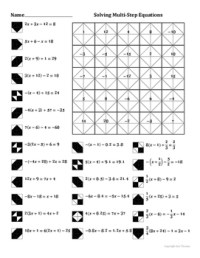 Solving Multi-Step Equations Coloring Worksheet by Aric ...