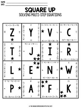 Solving Multi-Step Equations Digital Puzzle Activity by