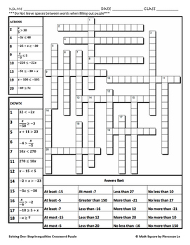 Solving One Step Inequalities Crossword Puzzle by MATH