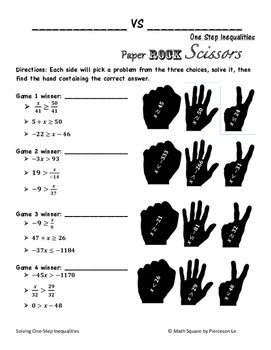 Solving One Step Inequalities Rock Paper Scissors by MATH