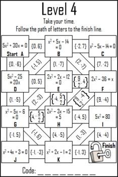 Solving Quadratic Equations Activity: Digital Escape Room