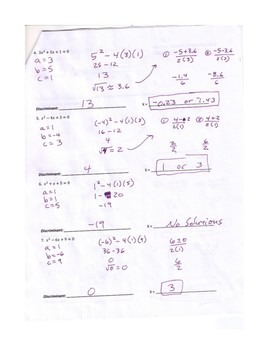 Math 154b Solving Using The Quadratic Formula Worksheet