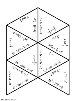 Solving Quadratic Equations by Factoring Triangle Puzzle