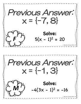 Solving Quadratics with Square Roots Scavenger Hunt by