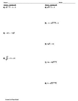 Solving Radical Equations Crossword Puzzle by Maya Khalil