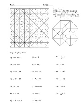 Solving Single Step Equations Color Worksheet by Aric