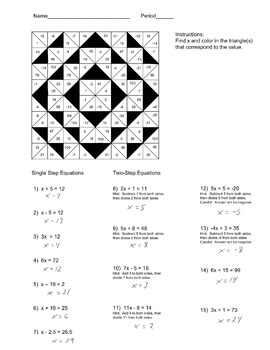 Solving Single and Two Step Equations Color Worksheet by