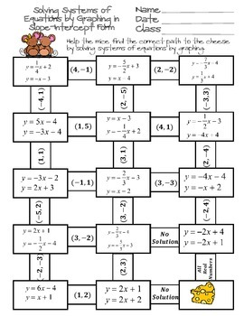 Solving Systems of Equations by Graphing Maze by Ayers