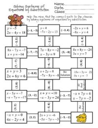 Solving Systems of Equations by Substitution Maze by Ayers ...