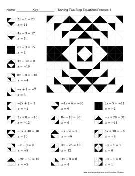 Solving Two Step Equations Color Worksheets Packet by Aric