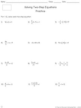 Solving Two-Step Equations Notes and Practice