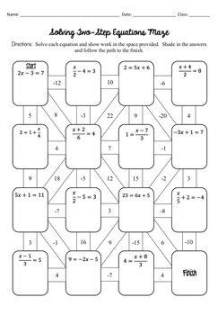 Printables of Two Step Equations Maze Worksheet Answers
