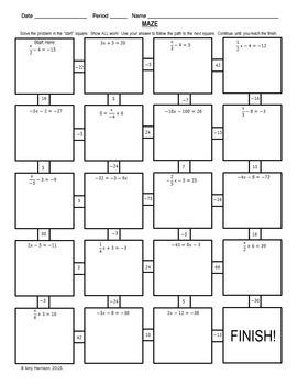 Solving Two Step Equations Maze Bonus Mini Maze By Amy