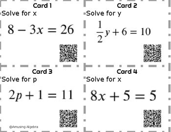 Solving Two Step Equations Task Cards with QR Code