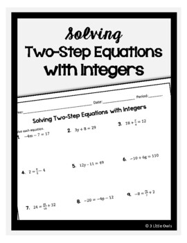 Solving Two-Step Equations with Integers by 3 Little Owls