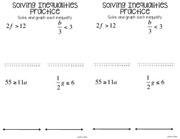 Inequalities Interactive Notebook by To the Square Inch