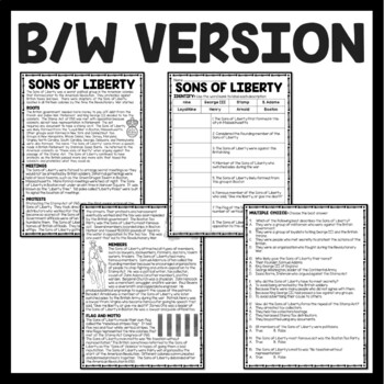 Sons of Liberty Reading Comprehension Worksheet American