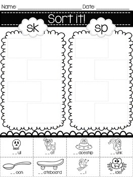 Sort It! Printables {S Consonant Blends} by Michelle and