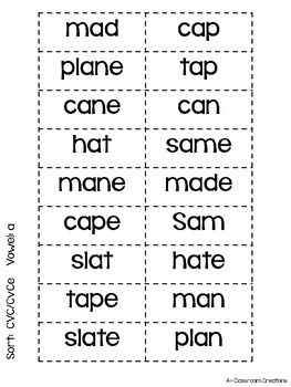 Sort and Search CVC and CVCe Words by A Plus Classroom