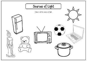 Sources of Light Worksheets (Artificial and Natural) by Ms