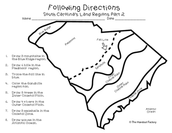 South Carolina's Land Regions- Following Directions