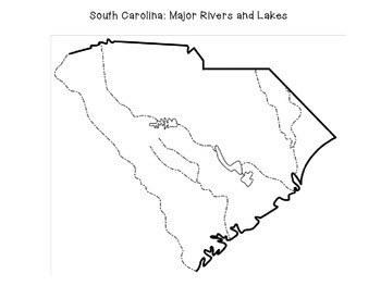 South Carolina: Major Rivers and Lakes cut and paste