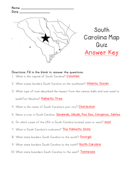 South Carolina Map Quiz with Answer Key by Molding Firstie