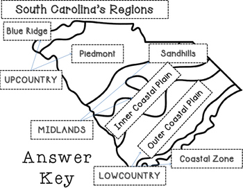 South Carolina Regions- Cut and Paste by Resources to the